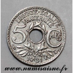 FRANCE - KM 875 - 5 CENTIMES 1931 - TYPE LINDAUER - Small Module