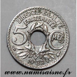 FRANCE - KM 875 - 5 CENTIMES 1933 - TYPE LINDAUER - Small Module
