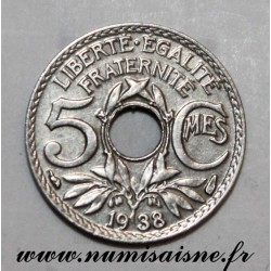 FRANCE - KM 875 - 5 CENTIMES 1938 - TYPE LINDAUER - Without dots