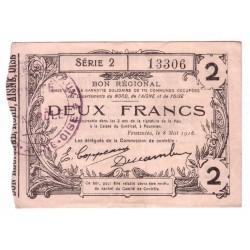 59 - 02 - 60 NORD AISNE OISE - 2 FRANCS 08.05.1916 - SUP