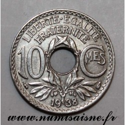 FRANCE - KM 889 - 10 CENTIMES 1938 - TYPE LINDAUER