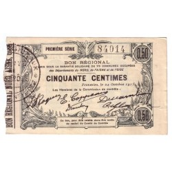 59 - 02 - 60 NORD AISNE OISE - 50 CENTIMES 24.10.1915 - SUP