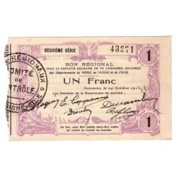 59 - 02 - 60 NORD AISNE OISE - 1 FRANC 24.10.1915 - SPL