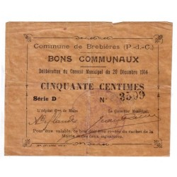 62117 - BREBIERES - 50 CENTIMES 20.12.1914 - TTB