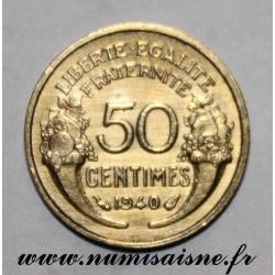 FRANCE - KM 894 - 50 CENTIMES 1940 - TYPE MORLON - Offset at 7h