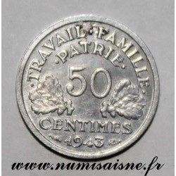 FRANCE - KM 914 - 50 CENTIMES 1944 - TYPE BAZOR - Offset at 7h