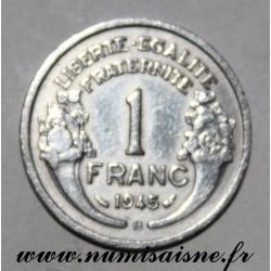 FRANCE - KM 885a - 1 FRANC 1945 B - Beaumont le Roger - TYPE MORLON