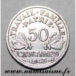 FRANCE - KM 914 - 50 CENTIMES 1943 B - Beaumont le Roger - TYPE BAZOR