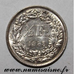 SUISSE - KM 23 - 1/2 FRANC 1958 B - HELVETIA