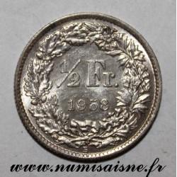 SWITZERLAND - KM 23 - 1/2 FRANC 1958 B - HELVETIA