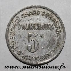 FRANCE - 30 - LA GRANDE COMBE - 5 CENTS - Ste D'ALIMENTATION 1911