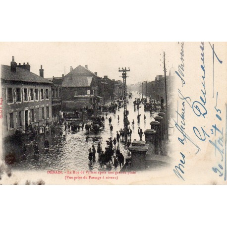County 59220 - DENAIN - THE STREET OF VILLARS AFTER A GREAT RAIN
