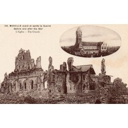 County 59660 - LE NORD - MERVILLE - THE CHURCH BEFORE AND AFTER THE WAR