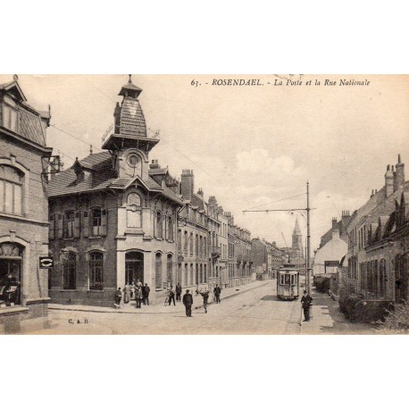 County 59240 - LE NORD - ROSENDAEL - THE POST OFFICE AND THE NATIONAL STREET