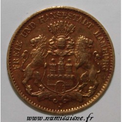GERMAN STATES - HAMBURG - KM 608 - 10 MARK 1898 J - GOLD