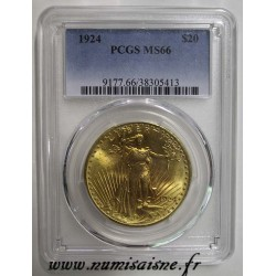 ÉTATS UNIS - KM 131 - 20 DOLLARS 1924 - Philadelphie - SAINT GAUDENS - DOUBLE EAGLE - PCGS MS 66