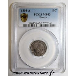 FRANCE - KM 676 - 10 CENTIMES 1808 - A - PARIS - TYPE NAPOLEON 1er - PCGS MS 63 ( DV )