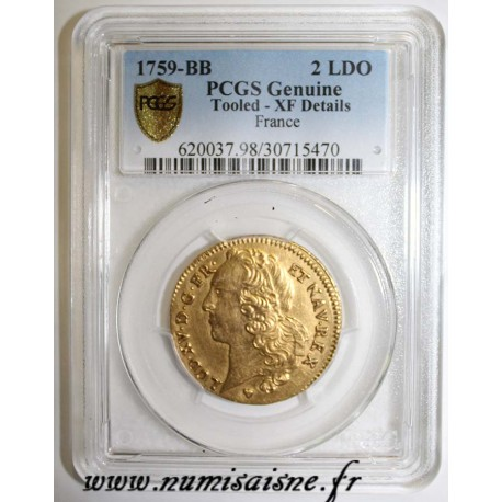 FRANCE - KM 519 - LOUIS XV - DOUBLE GOLD LOUIS WITH HEADBAND - 1759 BB - Strasbourg - PCGS XF DETAILS - Tooled
