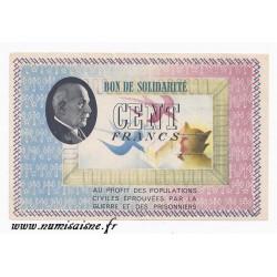 BON DE SOLIDARITÉ - 100 FRANCS 1941 - 1942 - TYPE PÉTAIN