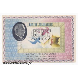 FRANCE - BANKNOTE OF SOLIDARITY - 100 FRANCS 1941 - 1942 - TYPE PÉTAIN