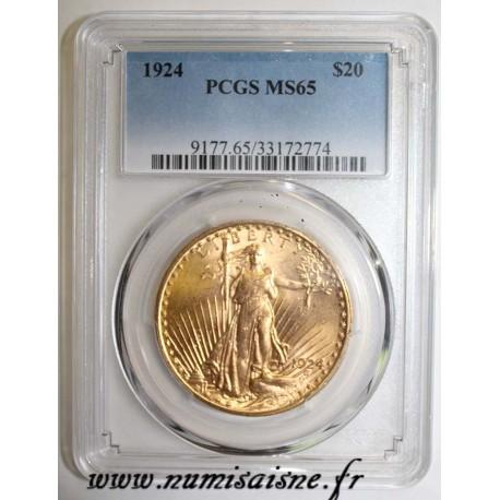 UNITED STATES - KM 131 - 20 DOLLARS 1924 - Philadelphia - SAINT GAUDENS - DOUBLE EAGLE - PCGS MS 65