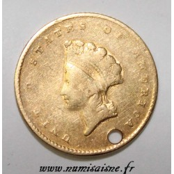UNITED STATES - KM 83 - 1 DOLLAR 1855 - GOLD - Small Indian Head - Holed