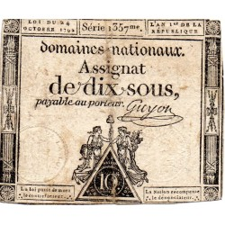 ASSIGNAT DE 10 SOUS - SERIE 1357 - 24/10/1792 - DOMAINES NATIONAUX
