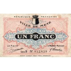 57 - METZ - CHAMBRE DE COMMERCE - 1 FRANC - 27/12/1918