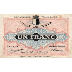 COUNTY 57 - METZ - CHAMBER OF COMMERCE - 1 FRANC - 27/12/1918