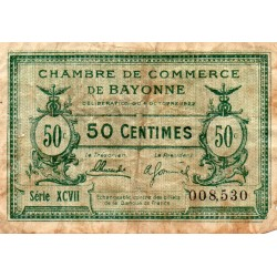 64 - BAYONNE - CHAMBRE DE COMMERCE - 50 CENTIMES - 04/10/1922