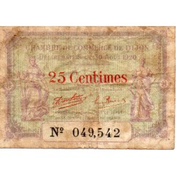 COUNTY 21 - DIJON - CHAMBER OF COMMERCE - 25 CENTIMES - 30/08/1920