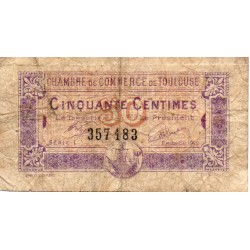 31 - TOULOUSE - CHAMBER OF COMMERCE - 50 CENTIMES - 08/03/1922