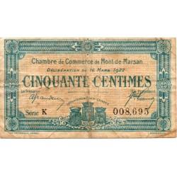 40 - MONT DE MARSAN - CHAMBRE DE COMMERCE - 50 CENTIMES - 16/03/1922