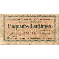11 - CARCASSONNE - CHAMBRE DE COMMERCE - 50 CENTIMES - 22/03/1922