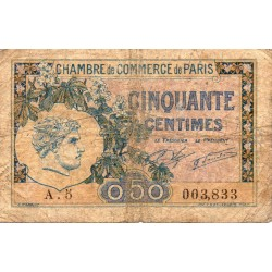 COUNTY 75 - PARIS - CHAMBER OF COMMERCE - 50 CENTIMES - 10/03/1920