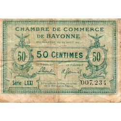 64 - BAYONNE - CHAMBRE DE COMMERCE - 50 CENTIMES - 26/08/1921