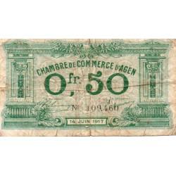 47 - AGEN - CHAMBRE DE COMMERCE - 50 CENTIMES - 14/06/1917