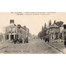 County 60100 - OISE - CREIL - WAR - GAMBETTA STREET SET ON FIRE BY THE GERMANS