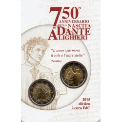 ITALY - 2 EURO 2015 X 2 - 75 YEARS OF THE BIRTH OF DANTE ALIGHIERI
