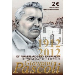 ITALIE - 2 EURO 2012 - 100 YEARS OF THE DEATH OF GIOVANNI PASCOLI