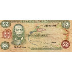 JAMAICA - PICK 69 d - 2 DOLLARS - 29/05/1992