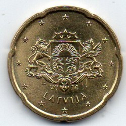 LATVIA - KM 154 - 20 CENT 2014 - COAT OF ARMS