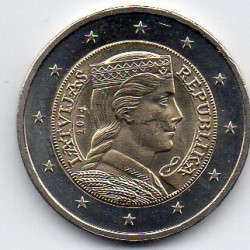 LATVIA - KM 157 - 2 EURO 2014