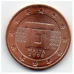 MALTA - KM 126 - 2 CENT 2008 - MNAJDRA TEMPLE