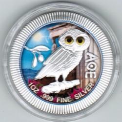 NIUE - 2 DOLLARS 2020 - ATHENIAN OWL - 1 OZ SILVER - COLORED
