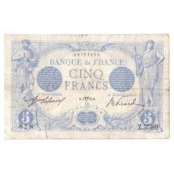 FAY 02/22 - 5 FRANCS BLEU - 04/1914 - TAUREAU - TRES TRES BEAU - PICK 70