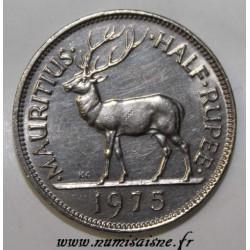 MAURITIUS - KM 37.1 - 1/2 ROUPIE 1975 - DEER