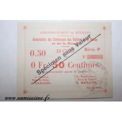 County 08 - MEZIERES BRAUX - VOUCHER OF 50 CENTIMES 1915 - BANK 'CAISSE D'EPARGNE' - SPECIMEN