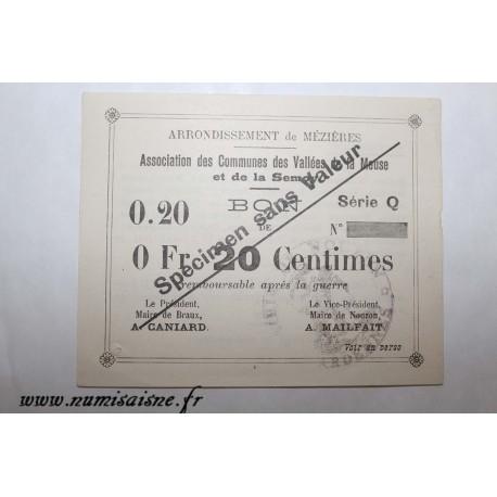 County 08 - MEZIERES BRAUX - VOUCHER OF 20 CENTIMES 1915 - BANK 'CAISSE D'EPARGNE' - SPECIMEN
