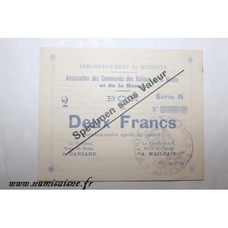 County 08 - MEZIERES BRAUX - VOUCHER OF 2 FRANCS 1915 - BANK 'CAISSE D'EPARGNE' - SPECIMEN